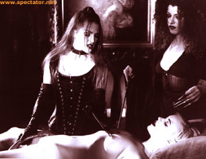 "In Bleu Productions' excellent ""Ladies of the Night,"" the two vampire mistresses examine their new toy."