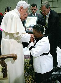 The Pope receiving Ugandan Parliamentary Speaker Rebecca Kadaga, outspoken champion of legislation that would allow LGBT people to be imprisoned or executed.