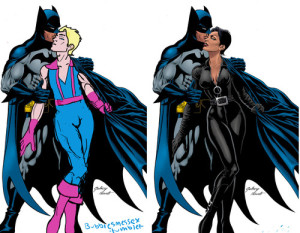 Batman kissing Catwoman vs. Batman kissing Hawkeye