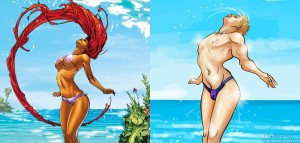 An example of the process of the Hawkeye Initiative; on the left, Teen Titan Starfire whips her hair in a swimsuit; on the right, Clint Barton (aka Hawkeye) reproduces the pose. This is actually one of the more high-quality pictures.