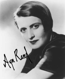 Ayn Rand picture with signature