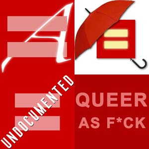 Clockwise from upper left: Atheists; Sex Workers; Queers; Undocumented Immigrants