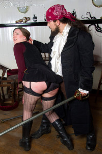 Pandora Blake in a pirate spanking picture.