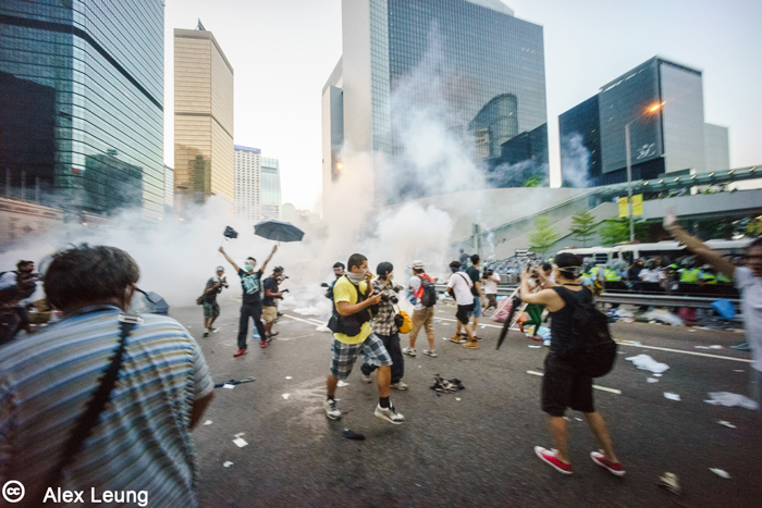 Demonstrators in the streets of Hong Kong, September 28, 2014