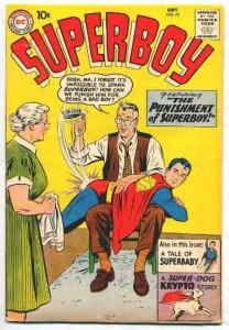 Superboy gets a spanking.